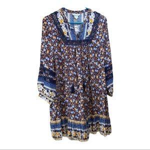 Sundance Simona Boho Dress in blue small NWOT